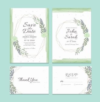 水彩花のフレームの装飾と結婚式の招待カードのテンプレート