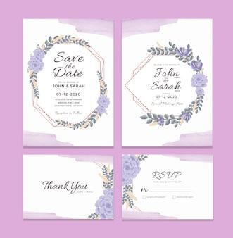 Шаблон свадебного приглашения с акварельными цветочными украшениями