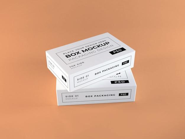 現実的なボックス包装モックアップ