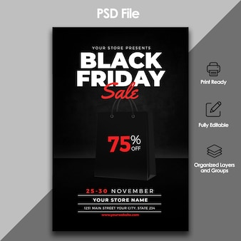Черная пятница продажи флаер шаблон