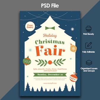 Рождественская ярмарка флаер шаблон