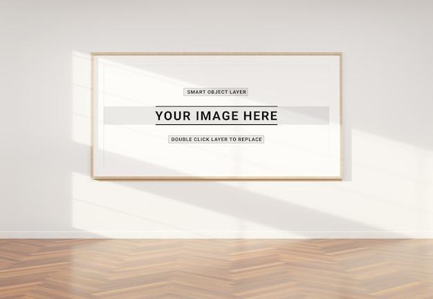インテリアモックアップのパノラマ写真フレーム