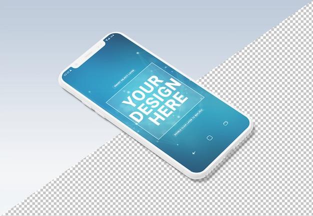 Вырежьте белый макет мобильного телефона на сером