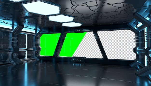 窓を切り取ると暗い宇宙船の未来的なインテリア