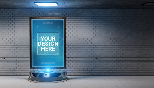汚い地下鉄駅のモックアップで未来的な看板