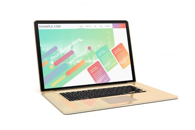 Золотой современный ноутбук с теневым макетом