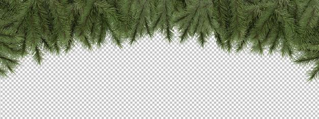 松の枝を切り取る