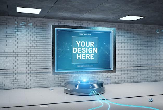 未来的なビルボードのトンネル駅のモックアップ
