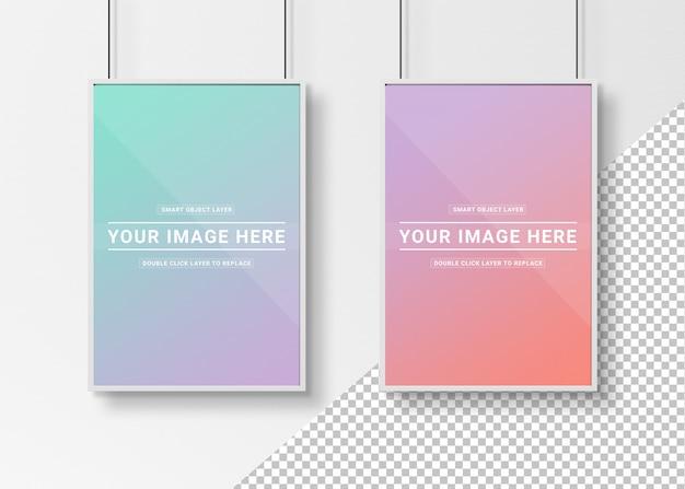 Вырежьте белые рамки для фотографий, висящие макет