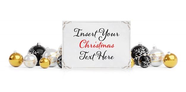 Рождественская открытка на белой поверхности с елочными шарами