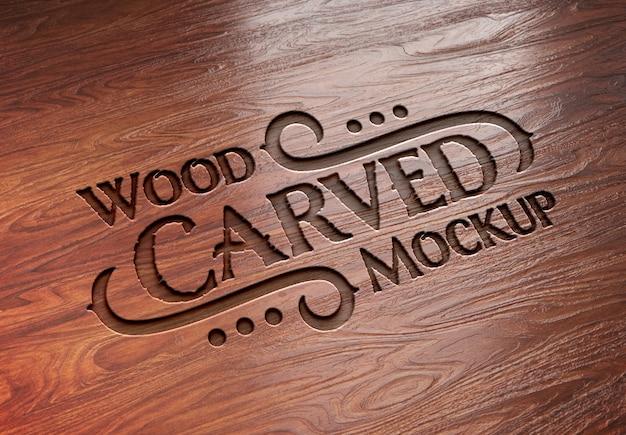 彫刻が施された木製テキスト効果モックアップ