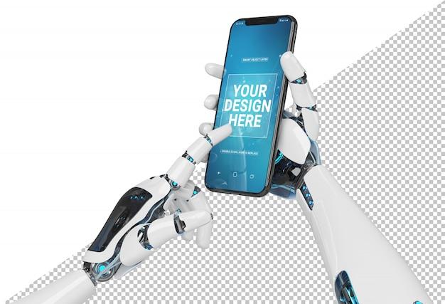 現代のスマートフォンのモックアップを持っている孤立した白いロボット手