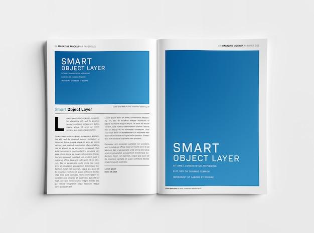 Открытый журнал на белой поверхности макет