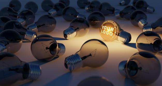 床に敷設された明るい電球のロゴモックアップ