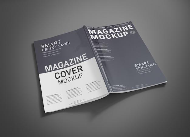 灰色の表面のモックアップの雑誌の表紙