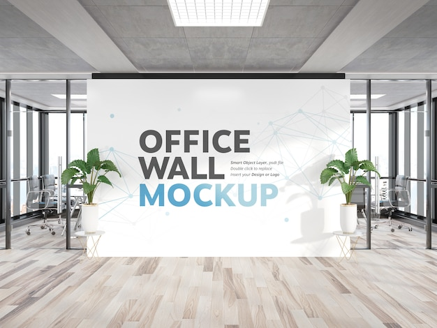 明るい木製オフィスの看板壁モックアップ