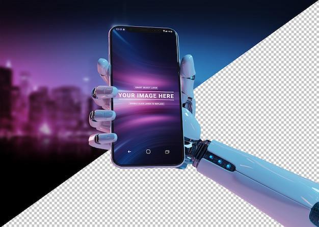 最新のスマートフォンのモックアップを持っている白いロボットの手を切り取る