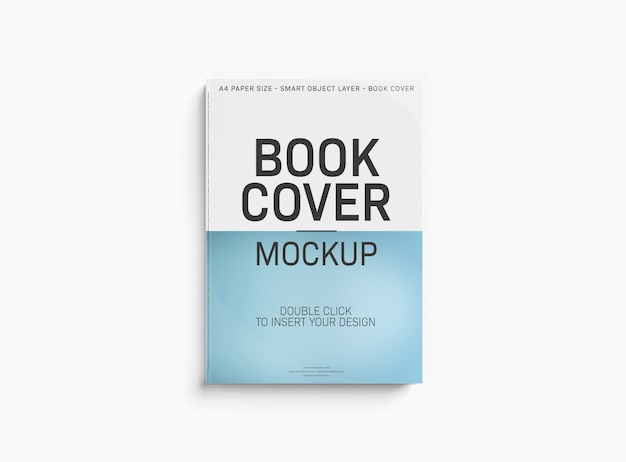 白い表面の本の表紙のモックアップ