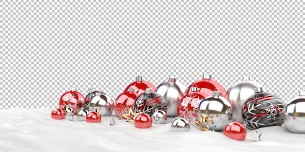 Изолированные рождественские безделушки, выстроились на снегу