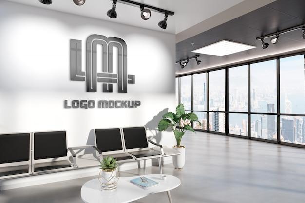 Логотип на стене зала ожидания офиса макет