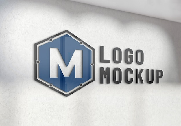 オフィスのコンクリート壁のモックアップにロゴを反映