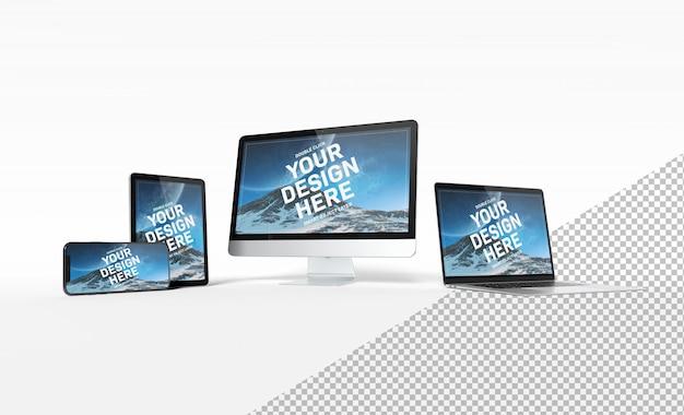 スマートフォンラップトップコンピューターとタブレットの近代的なデバイスが整列し、白い背景のモックアップに分離