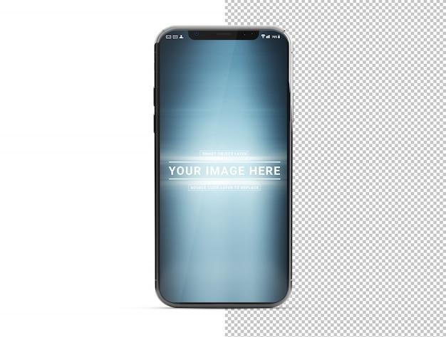孤立した白いモックアップに影で現代のスマートフォンをカット