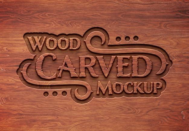 刻まれた木製のテキスト効果のモックアップ