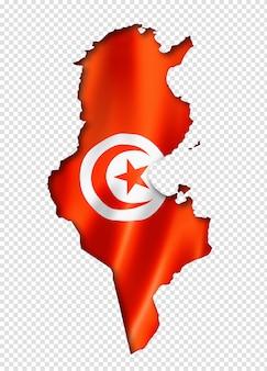 Карта туниса с флагом