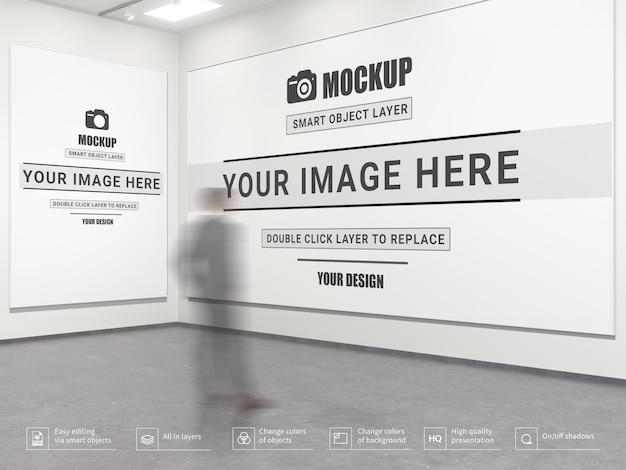 Современный макет пустого интерьера художественной галереи