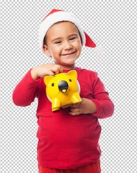 クリスマスを祝う子供男の子