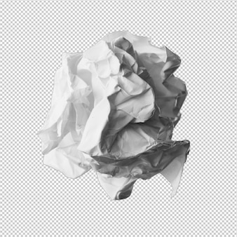 Бумажный шарик на белом фоне