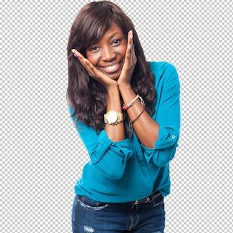 クールな黒人女性の笑みを浮かべて
