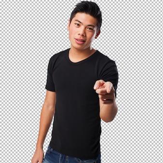 Китайский человек, указывая спереди