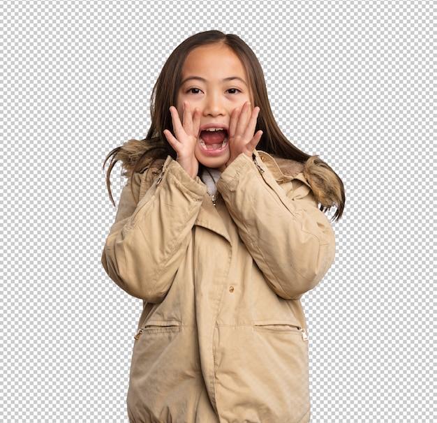 叫んでいる中国の少女
