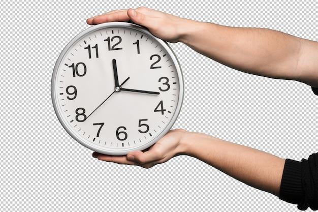 白い背景の上の時計します。