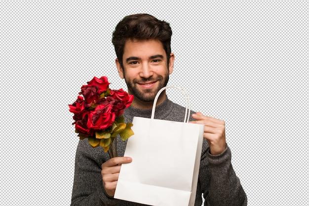 Молодой человек празднует день святого валентина