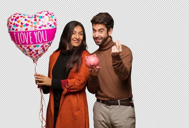 Молодая крутая пара празднует день святого валентина
