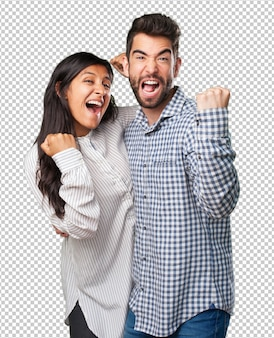 若いカップルを祝う