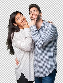 物思いにふける若いカップル