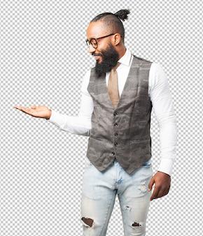 Бизнес черный человек, держащий жест