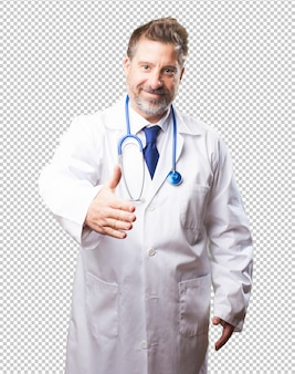 オーケージェスチャーをしている医者男