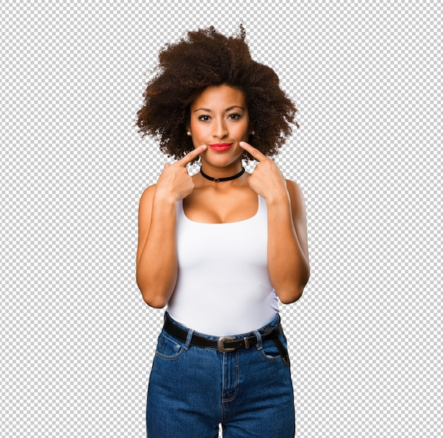 彼女の口を指している若い黒人女性