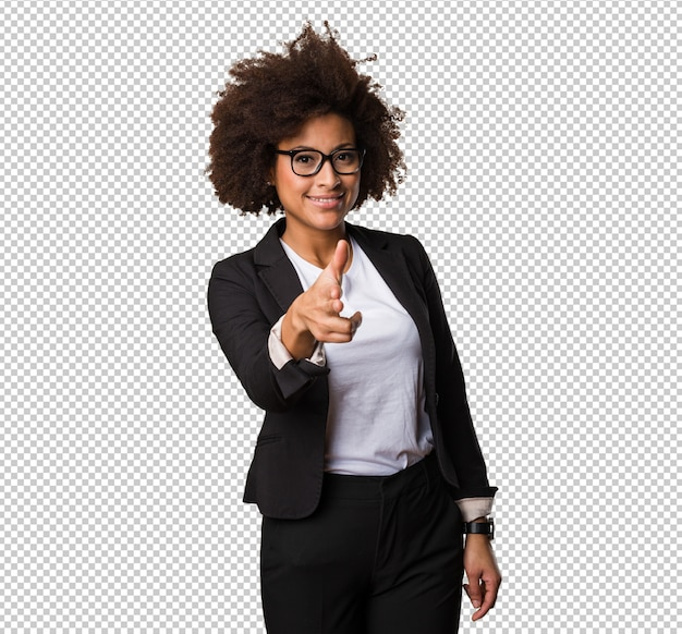 銃ジェスチャーを行うビジネス黒人女性