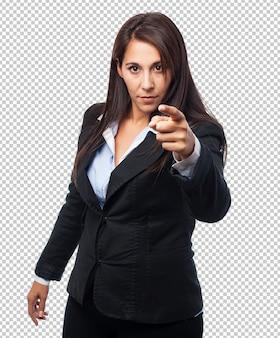 クールなビジネス女性ポインティングフロント