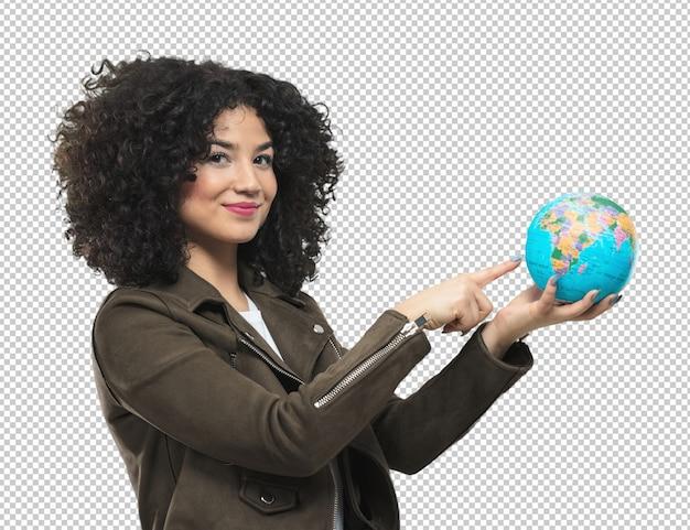 地球を保持している若い女性