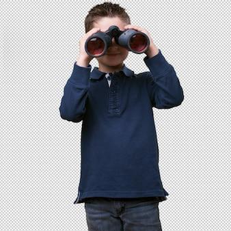 双眼鏡を使用して小さな子供