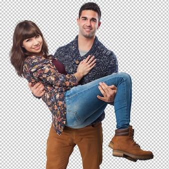 分離された幸せな若いカップル