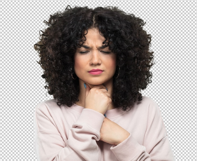 若い女性の病気と喉の痛み