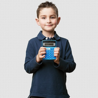 Маленький ребенок с помощью калькулятора